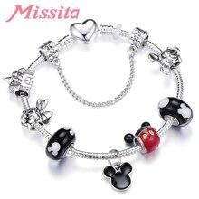 MISSITA Cute Mickey Series Bracelets Bangle with Murano Beads Pocket Pendant Brand Bracelet for Women Anniversary Gift