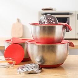 Antypoślizgowe DIY ciasto chleb sałatka mikser kuchnia narzędzie do pieczenia z pokrywą tarka pojemnik na jedzenie miski ze stali nierdzewnej