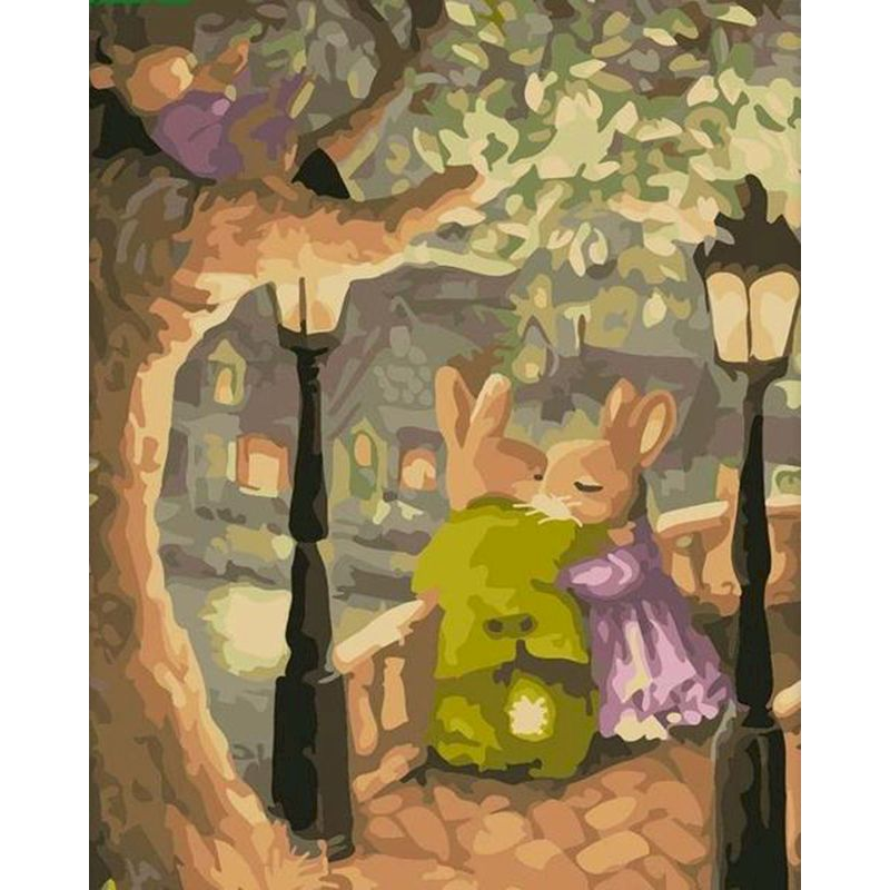 Painting by number art beautiful HandPainted Gift Pictures Warm rabbit under the tree Scenery for Kids & Adults Home Decor gift-0