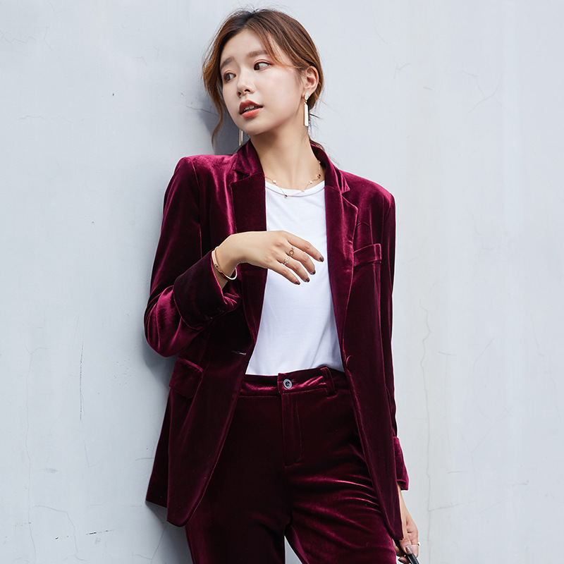 Wine Red Gray Royal blue Women's Gold velvet pants suits soft warm fabric trouser jacket blazer and pant office ladies work wear
