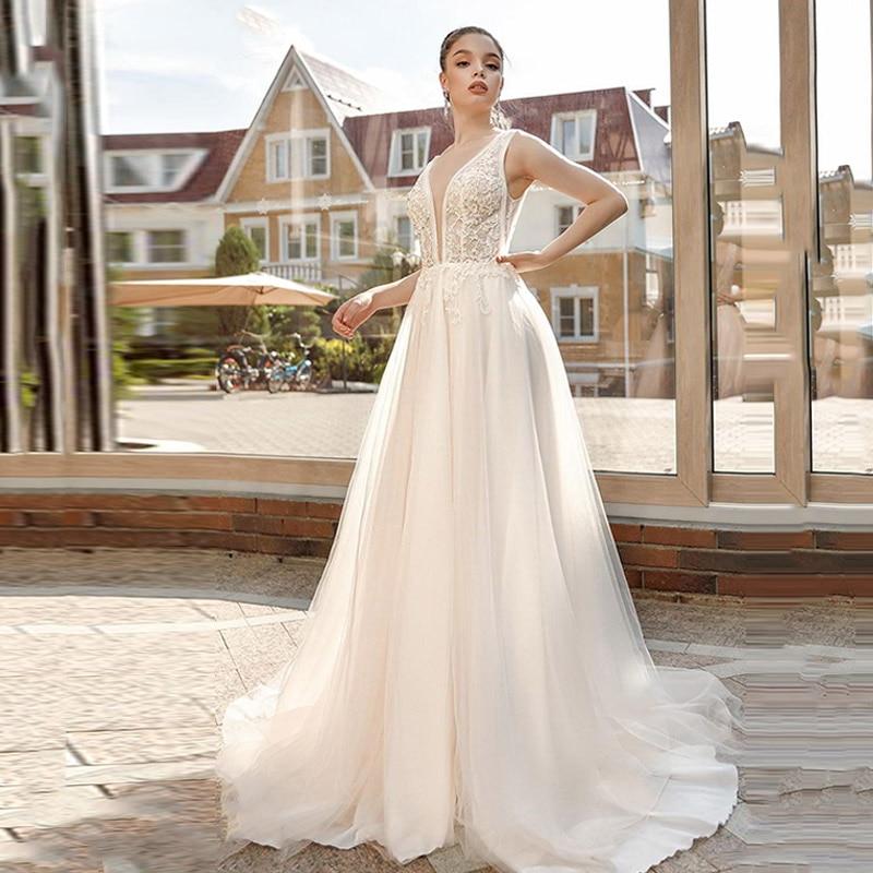 Eightree Elegant Bride Dress A-Line Wedding Dress robe de soiree Appliques Deep V Neck Bridal Dress Vestido De Noiva 2019
