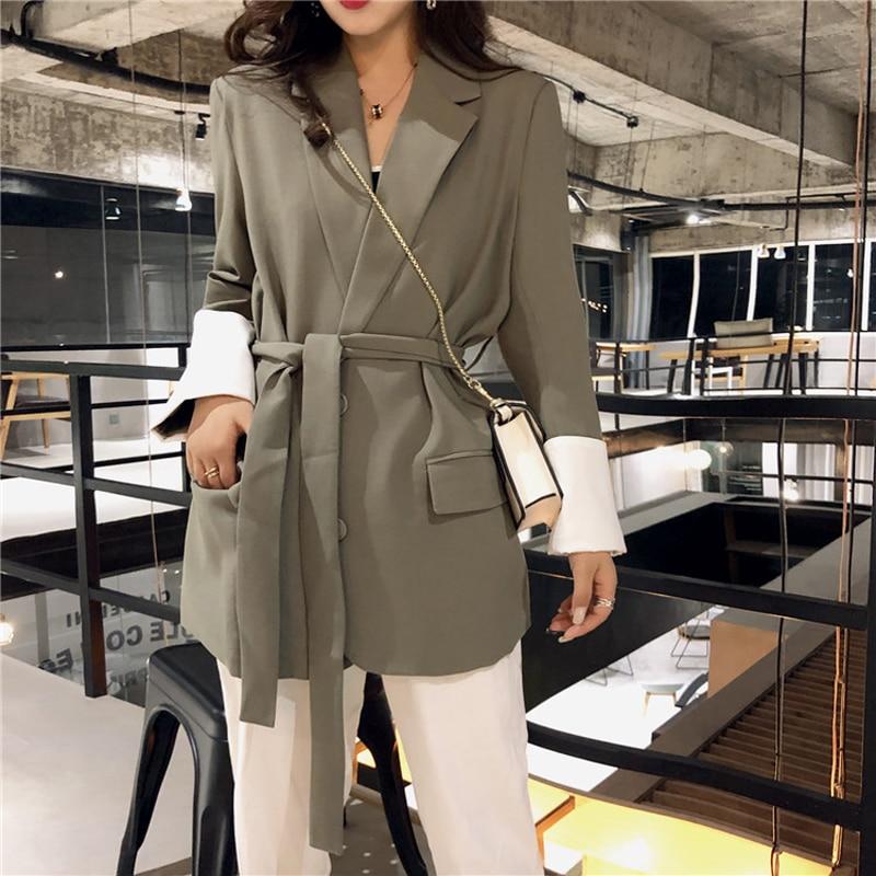 Retro Korean Style Blazer Womens Solid Suit Jacket Belt Coat Elegant Single-Breasted Coat Office Lady Black, Apricot, Green