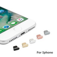 Porta de carregamento para iphone xs max xr x 8 plus, material de alumínio anti poeira 7 6s 5S 5 se for ipad mini acessórios do telefone