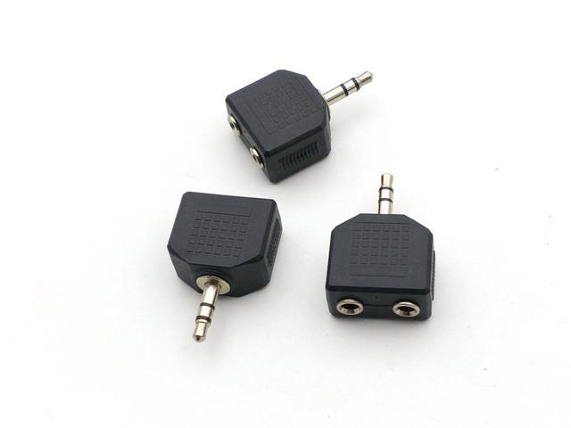 100 Uds 3,5mm Conector estéreo macho a 2x3,5mm enchufes a 3,5mm Jack Splitter