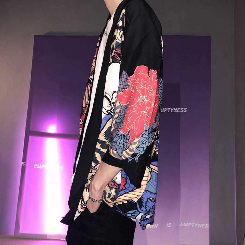 Kimono para hombre Kimono japonés tradicional kimono para hombre cárdigan harajuku streetwear disfraz de samurai yukata masculino haori obi AZ001