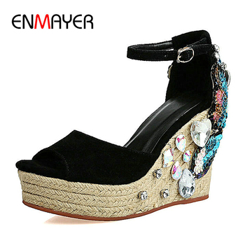 ENMAYER 2020 Sexy High Heels Sandals Women Party Kid Suede Buckle Strap Women Sandals  Retro Crystal Cover Wedges Heel Shoes