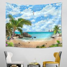 Sea Beach Landscape Tapestry Wall Hanging Wooden Boat Islands Tropical Plants Tapestry Wall Hanging Bedspread Beach Mat Towel hanging mountains boat lake wall tapestry