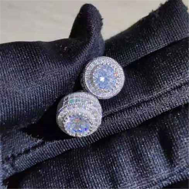 Female Austrian Crystal Round Earring White Gold Yellow Gold Color White Zircon Hip Hop Wedding Stud Earrings For Women Jewelry