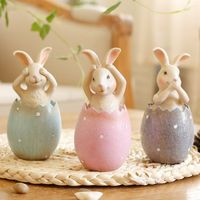 3pcs/lot Easter Rabbit in Egg No Say No Listen No see Rabbits Easter Decoration for Home Gift for Kids Party Wedding Decoration