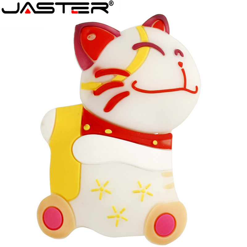 JASTER  Lucky Smile Cat Model Pen Drive 4GB 8GB 16GB 32GB 64GB USB Flash Drive Memory Stick USB 2.0