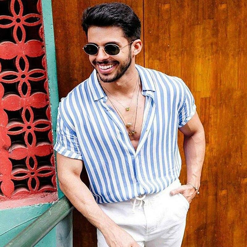 Летняя мужская рубашка в синюю полоску с коротким рукавом, Повседневная рубашка в стиле ретро, гавайская рубашка, топ Харадзюку, Мужская