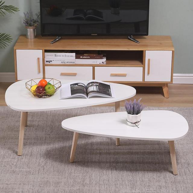 2Pcs/Set Living Room Coffee Tables Nordic Light Round Side Table Kitchen Furniture Modern Combo Wooden Leg Cafe Tea Table HWC