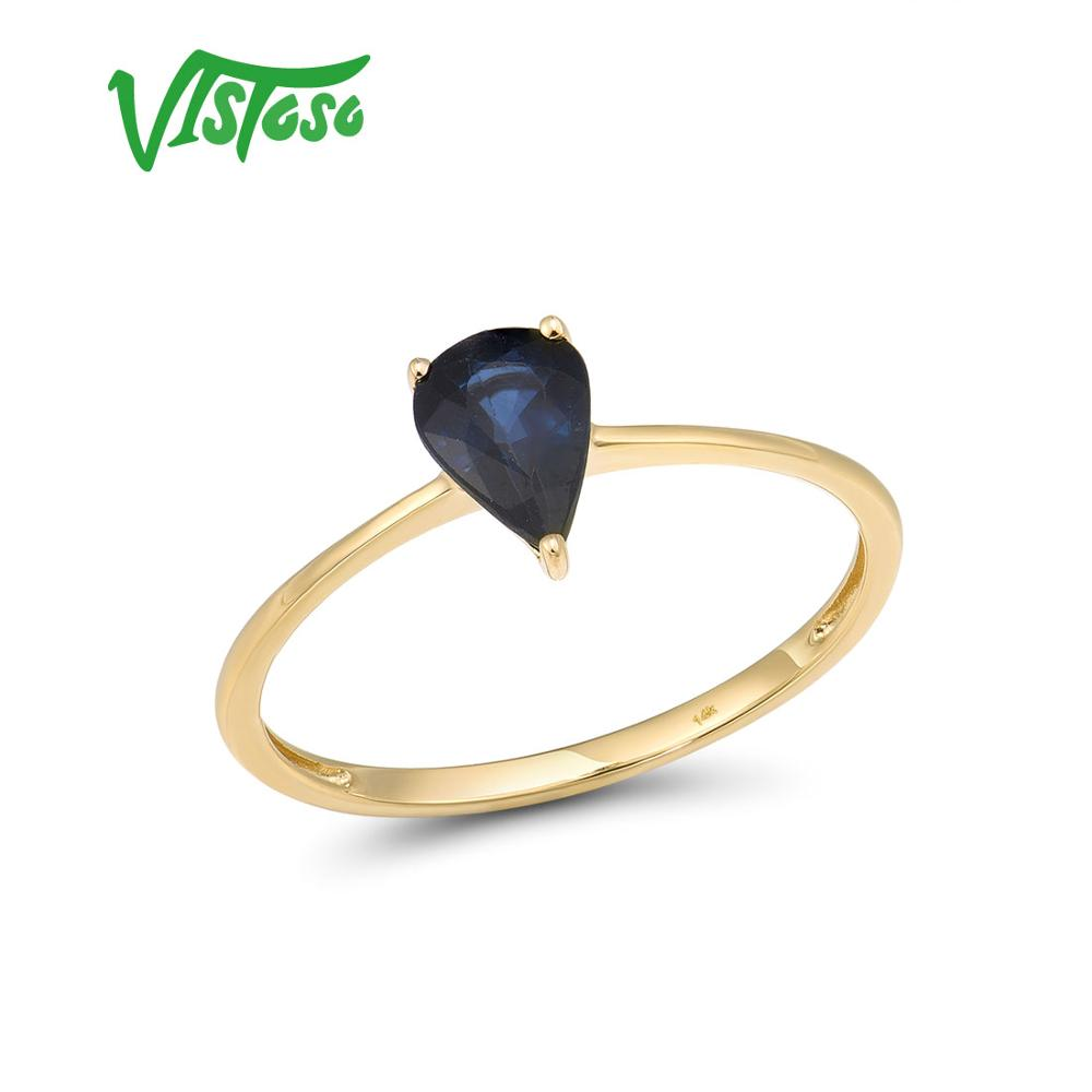 VISTOSO Gold Rings For Women Genuine 14K 585 Yellow Gold Ring Fancy Blue Sapphire Engagement Ring Fine Jewelry