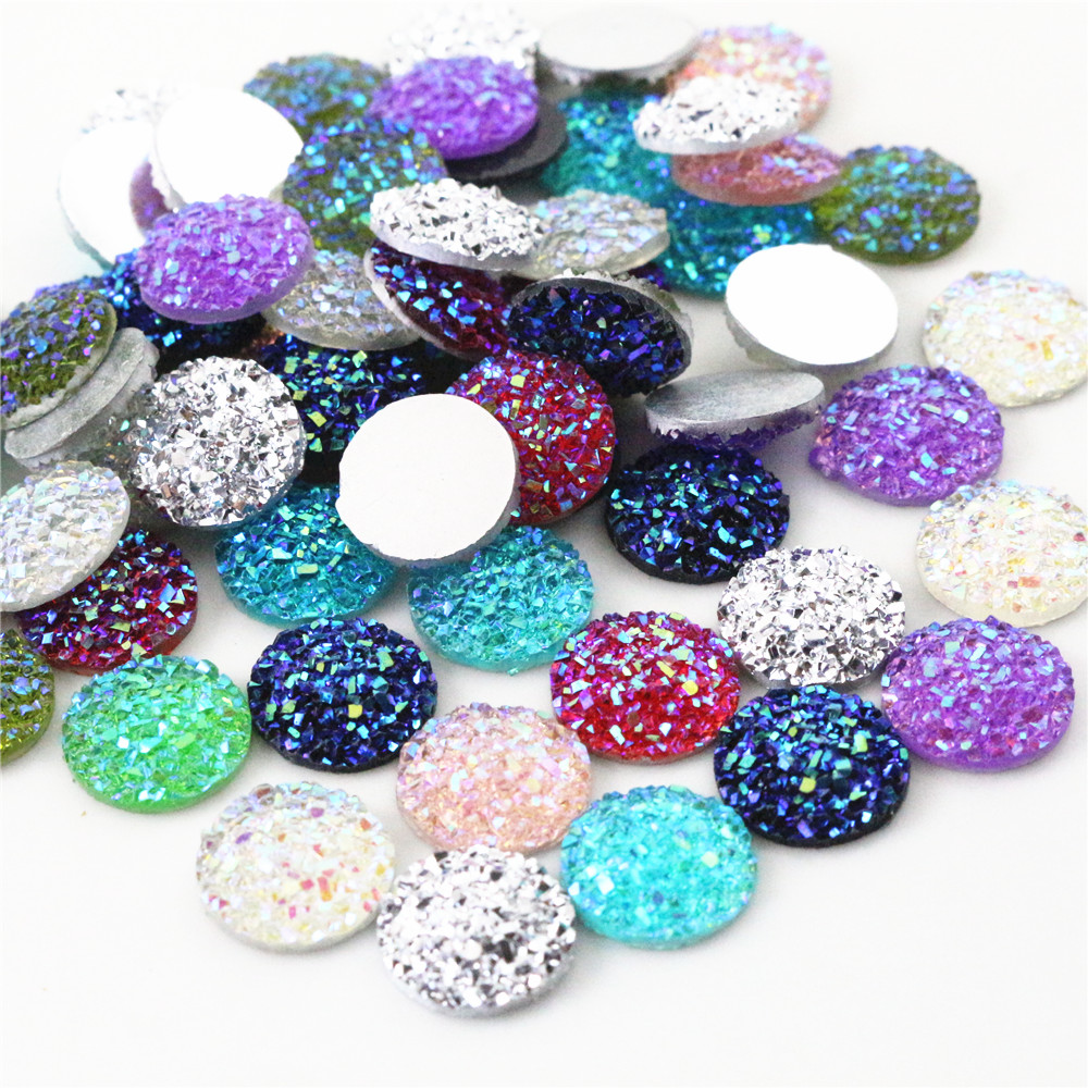 New Fashion 40pcs 12mm Mix Colors Druzy Natural Stone Convex Flat back Resin Cabochons Jewelry Accessories Wholesale Supplies