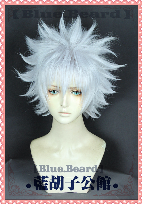 Anime Hunter X Hunter Killua Zoldyck Cosplay Wig Short Silver White Shaggy Layered Heat Resistant Synthetic Hair Wig + Wig Cap