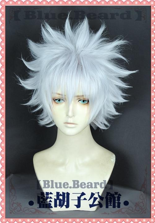 Anime Hunter X Hunter Killua Zoldyck Cosplay Wig Short Silver White Shaggy Layered Heat Resistant Synthetic Hair Wig + Wig Cap