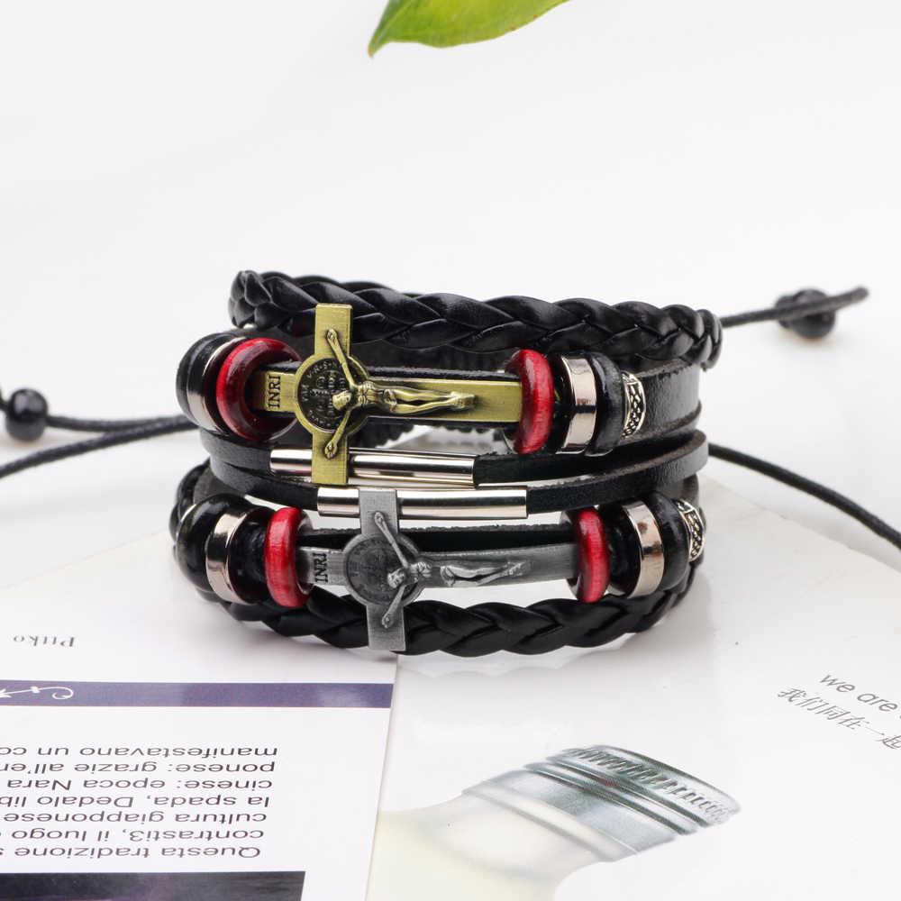 Punk multi-camada de Jesus cruz pulseira de couro dos homens da moda tecido pulseira pulseira Adequado para os homens de multi- camada de mão-trançado