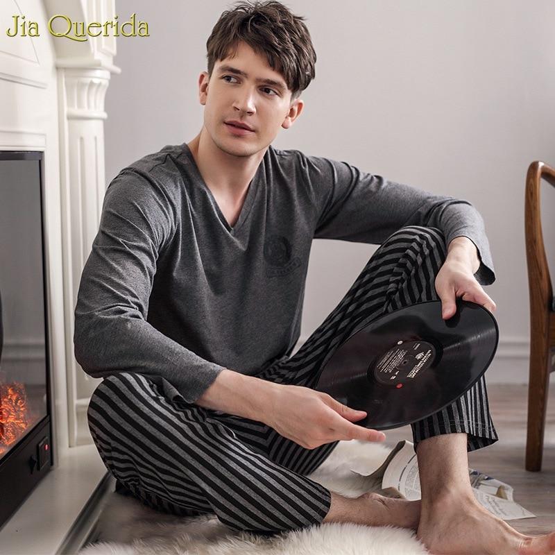 Pajamas Sleeping Suits For Men Fashion Men Sleepwear Modal Classy Pijama Hombre Plain Grey Male Pyjamas Long Sleeves Pajamas Men
