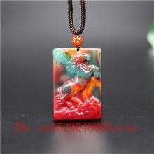 Натуральный цвет Хотан нефрит камень лошадь кулон ожерелье Китайский жадеит ювелирные изделия модный шарм резной амулет Подарки для женщин мужчин