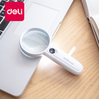Deli 1PCS Magnifier LED Light HD Multi-function Portable Handheld Magnifying Glass Reading Newspaper Office Learning 9098