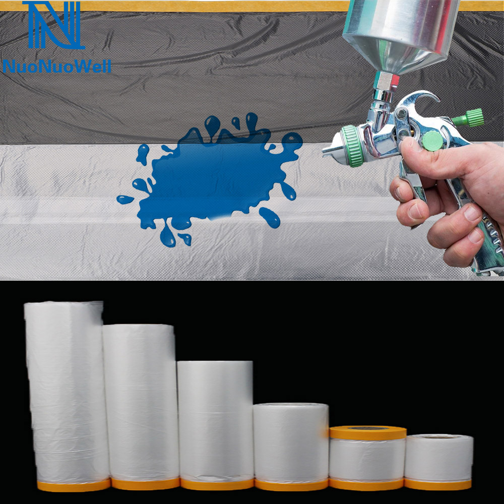 Oil Painting Masking Film Tape Furniture Car Renovation Protect Cover Plastic Film Barrier Paint Block Sheeting