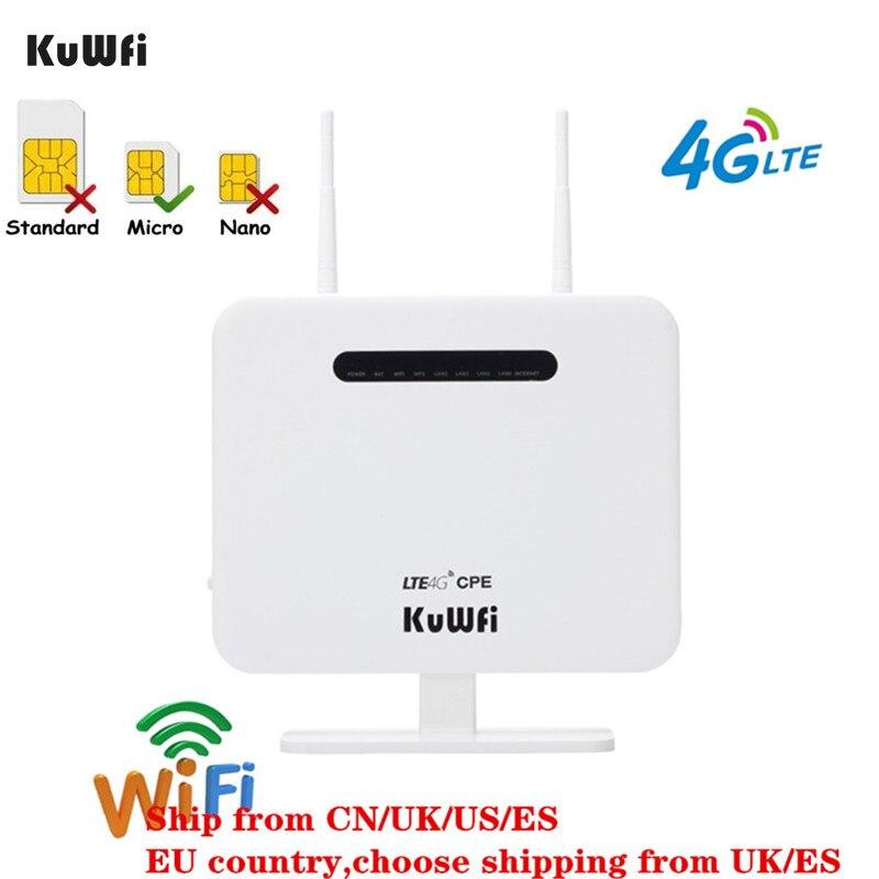 Update Versão KuWFi 4G LTE Router 150Mbps Roteador Sem Fio CPE 4G CAT4 4 Cartão SIM Roteador LAN porta de rede de trabalho com toda A Europa