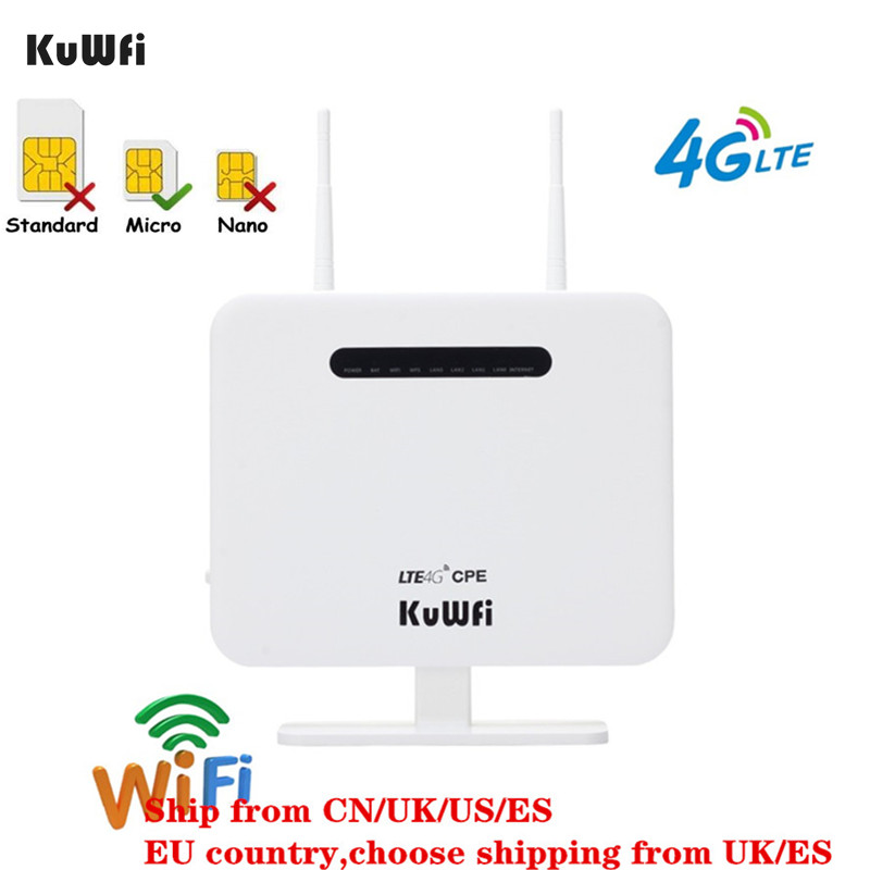 KuWFi Update Version Wireless Router 4G LTE Router 150Mbps 4G CAT4 CPE Router SIM Card 4 LAN Port Work With All Europe Network
