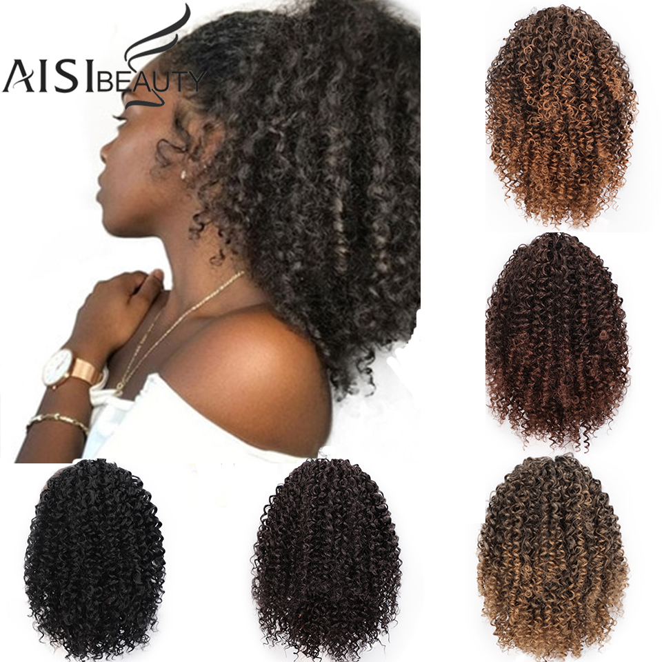 AISIBEAUTY Drawstring Puff Ponytail Afro Kinky Curly Hair Extension Synthetic Clip In Pony Tail  African American Hair Extension