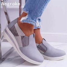 New Autumn Women Flats Shoes Female Wedges Platform Casual Shoes For Ladies Slip On Flats Loafers Shoes Plus Size 43 genuine leather wedges slip on shoes women flats loafers wedge casual height increasing flat walking shoes plus size 34 40