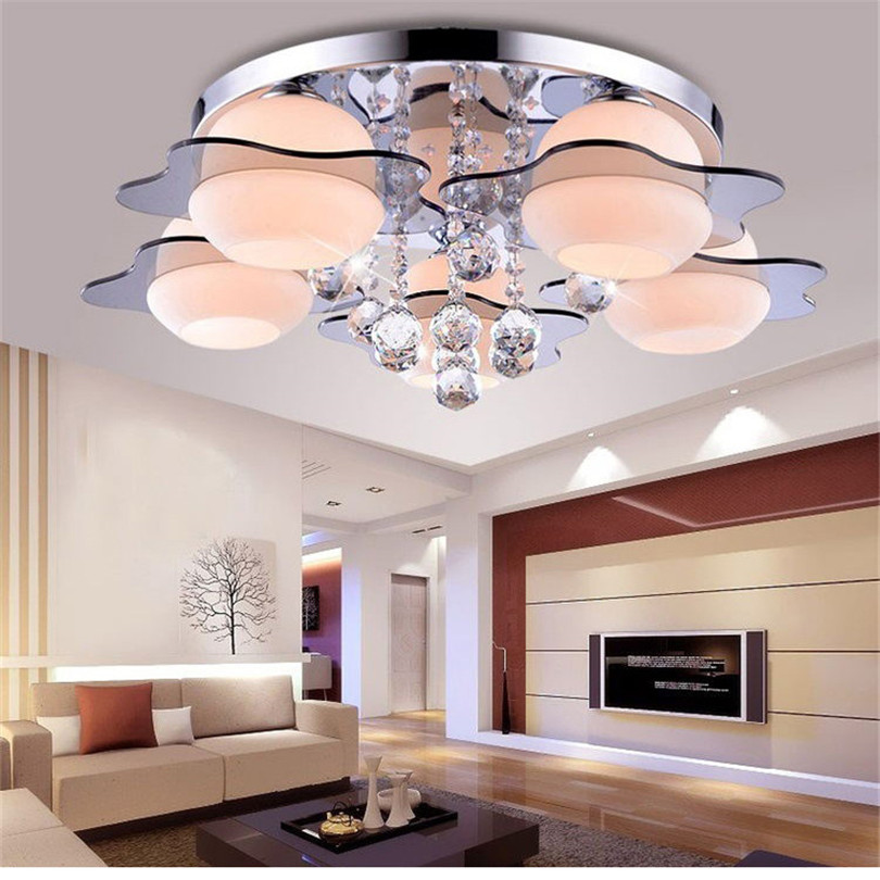 Image 3 - minimalist  3/5 light colored led crystal chandeliers for Bedroom Remote Control Glass Surface Mounted ceiling lamp Fixture-in Ceiling Lights from Lights & Lighting