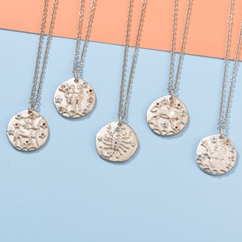 Leouerry 12 Constellation Zodiac Necklace Antique Silver Short Chain Necklaces for Women Statement 925 Sterling Silver Necklaces фото