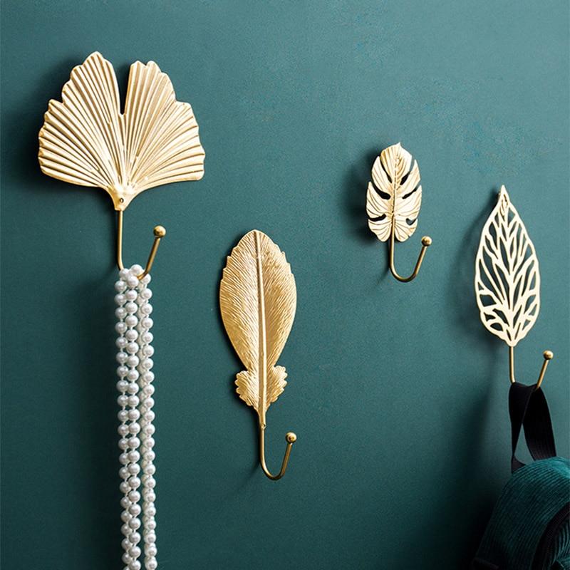 Nordic Hook Purse Hook Creative Golden Leaf Shape Coat Rack Wall Coat Key Hanger Does Not Punch Home Wall Hanging Decoration