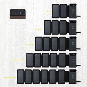 Sem fio Solar Power Bank Dual USB Bateria Externa Powerbank Bateria de Polímero Carregador Solar Lâmpada Luz Ao Ar Livre À Prova D' Água