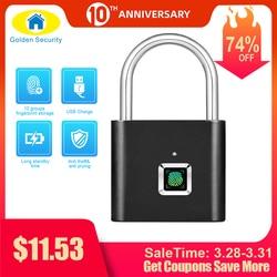 الذهبي الأمن بدون مفتاح USB قابلة للشحن قفل باب ببصمة الإصبع الذكية قفل سريعة فتح سبائك الزنك معدن الذاتي النامية رقاقة