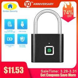 Cerradura de puerta recargable USB sin llave de seguridad dorada, candado inteligente con huella digital, desbloqueo rápido, Chip de Metal de aleación de Zinc de Auto Desarrollo
