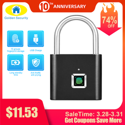 Golden Keamanan Tanpa Kunci USB Kunci Pintu Sidik Jari Smart Gembok Cepat Membuka Paduan Seng Logam Diri Mengembangkan Chip