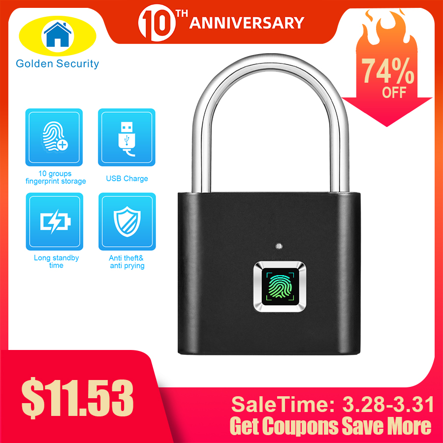 Door-Lock Self-Developing-Chip Fingerprint Metal Zinc-Alloy Keyless Usb Quick Golden-Security title=