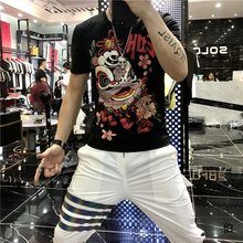 Men's summer new jacket T-shirt heavy craft lion hot drilling casual T-shirt bottoming shirt short sleeve men's designer T-shirt(China)