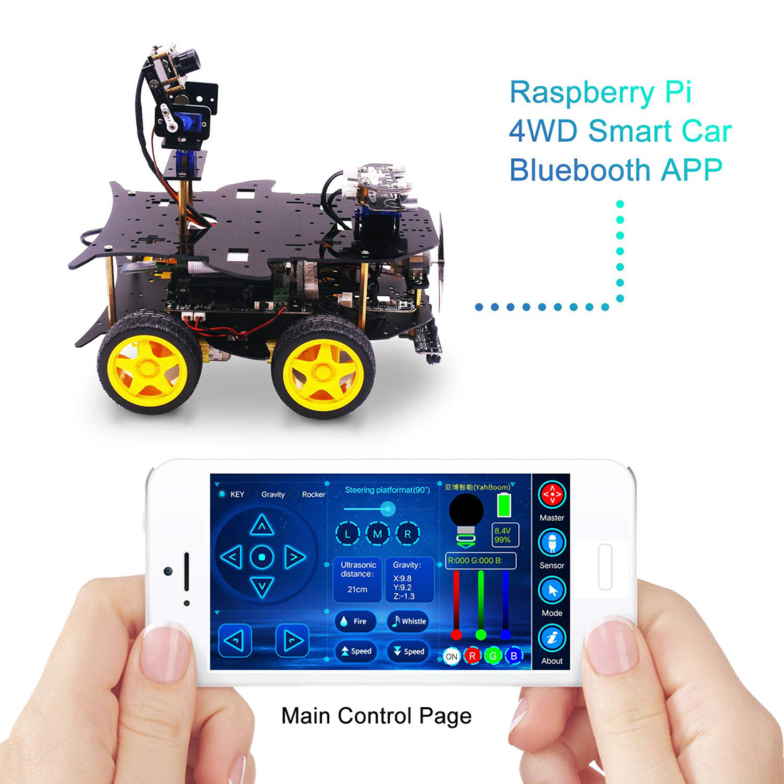 Bluetooth Ultimate Starter Kit Programmable Smart Robot Car with Camera 4WD Education DIY Stem Toy Kit with Raspberry 4B (4G) 2