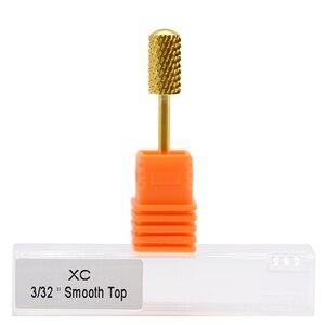 "Image 2 - MAOHANG 10ชิ้น/ล็อต3/32 ""โกลด์คาร์ไบด์เล็บเจาะBit Milling CutterสำหรับElectricทำเล็บมือPedicureเครื่องอุปกรณ์เครื่องมือลบเจล"