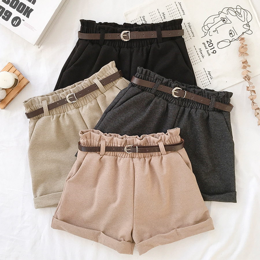 Solid Elastic Waist Woolen Shorts Women Casual Belts Warm Shorts Autumn Winter Streetwear Female Fashion Korean Shorts Korean