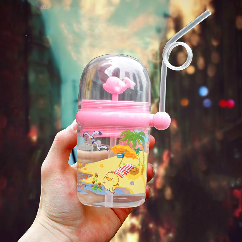 250ml Kids Tritan Fun Whale Water Spray Cup Cartoon Baby Feeding Cups With Straws Water Bottles Outdoor Portable Children's Cups