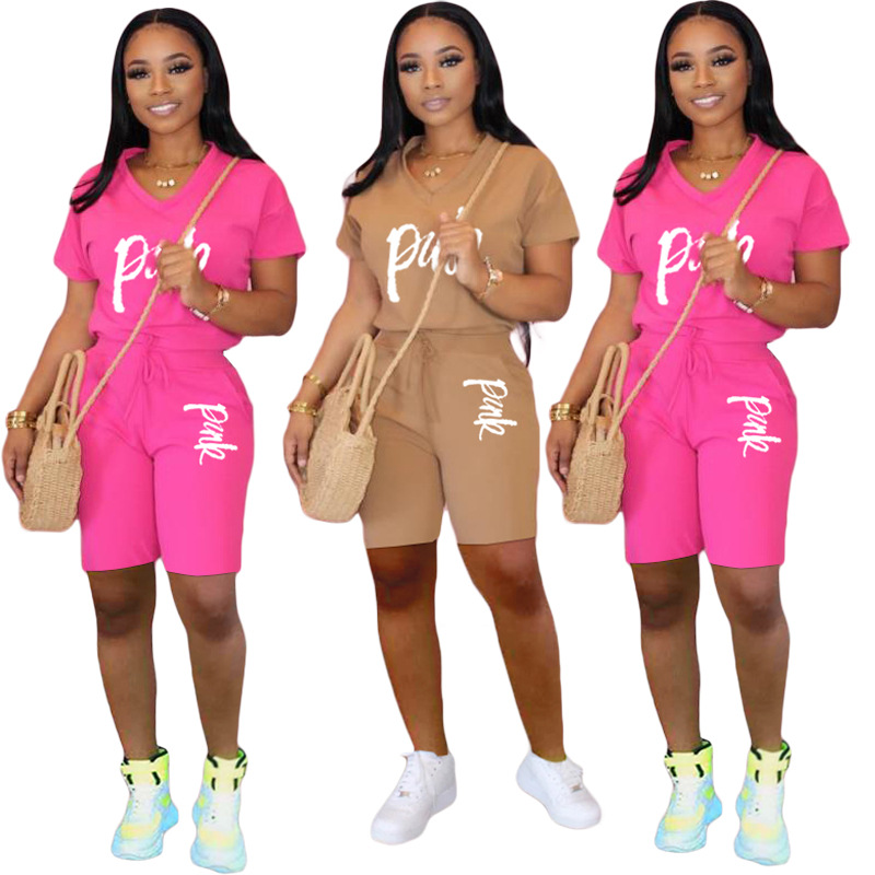 Casual Pink Letter Print Women Two Piece Set 2020 New Summer Rompers Sexy Striped T-Shirts And Skinny Pants 2pcs Outfits