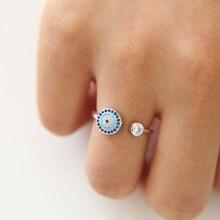 Rose Gold Bösen blick Offene Einstellbare Finger Ring Mit Blau Schwarz Mischte CZ Neue Schmuck Luxus Cubic Zirkon Türkische Frauen schmuck