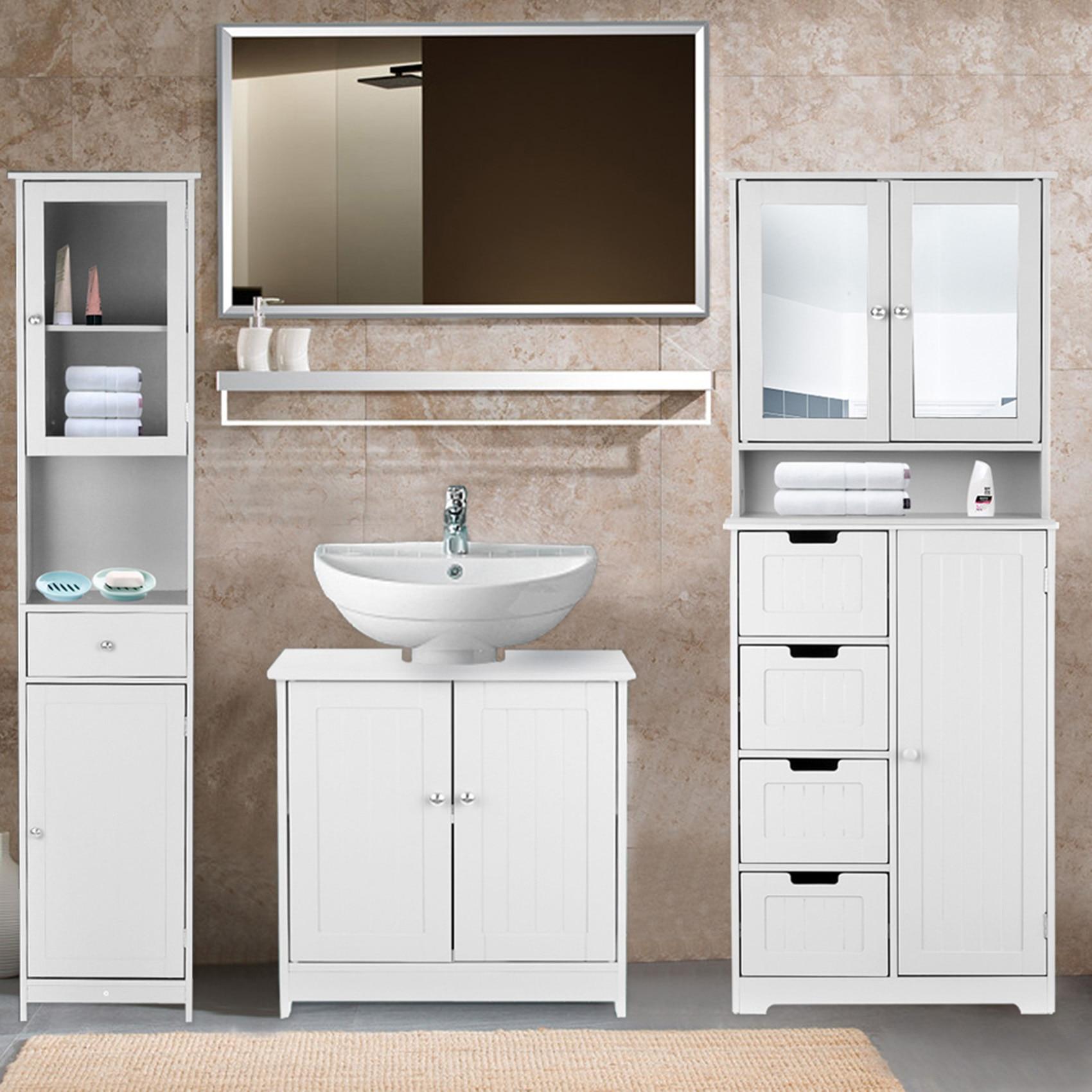 Modern Floor Cabinet Modern Under Sink Storage Cabinet with Doors Bedroom Storage Organizer Furniture 4 Layer Organizer Cabinet