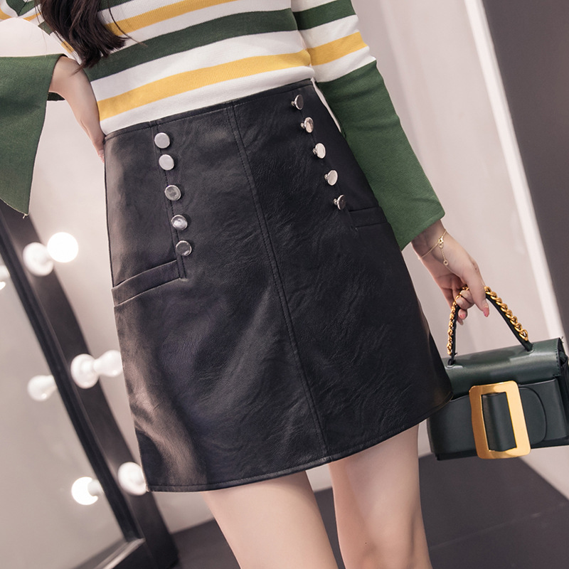 Leather Bag Skirt Black And White With Pattern Small Leather Skirt Women's 2019 New Style Autumn & Winter Versatile A- Line Shor