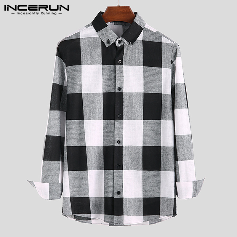 INCERUN Plaid Men Casual Shirt Long Sleeve Fitness Lapel Streetwear Blouse Camisa Autumn Fashion Brand Classic Shirts Men S-5XL