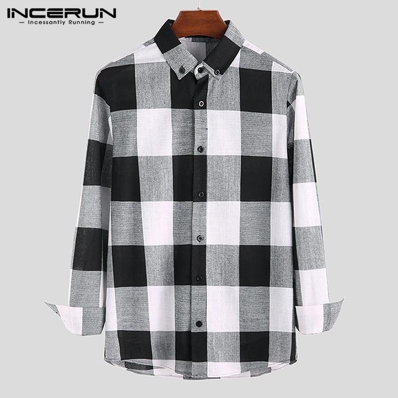 INCERUN Plaid Men Casual Shirt Long Sleeve Fitness Lapel Streetwear Blouse Camisa Autumn Fashion Brand Classic Shirts Men S-5XL