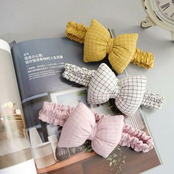 цена на Cute Baby Girls Headband Plaid Kids Bow Knot Toddler Hairband Headband Stretch Turban Head Wrap Hairband Headwear Accessories