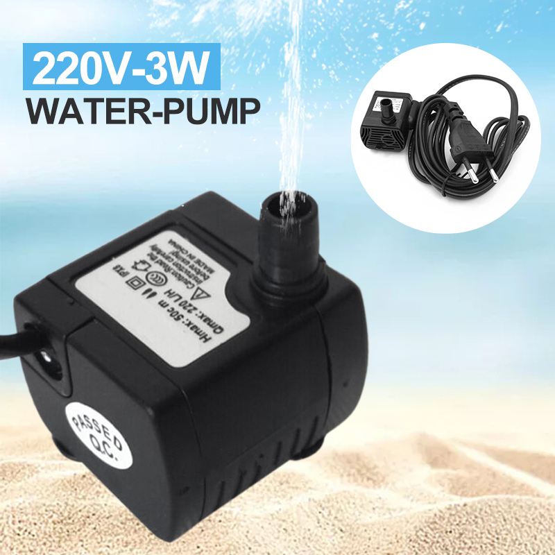 Mini Water Pump 220V 3W Small Ultra quiet Submersible Water Pump for Fountain Aquarium Fountain Fish